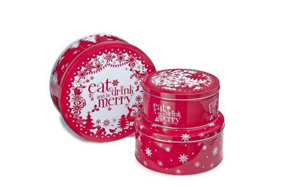 Cooksmart Eat Drink & Be Merry Cake Storage Tins, Set of 3