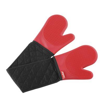 VonShef Seamless Silicone Double Non-Slip Oven Glove - Red