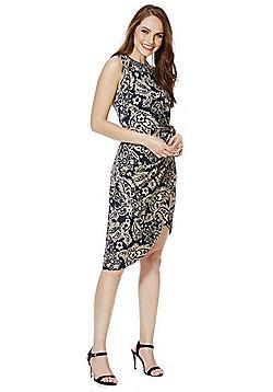 Mela London Paisley Print Wrap Style Dress - Navy