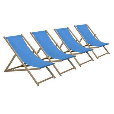 Harbour Housewares Traditional Adjustable Wooden Beach Garden Deck Chair - Light Blue - Pack of 4