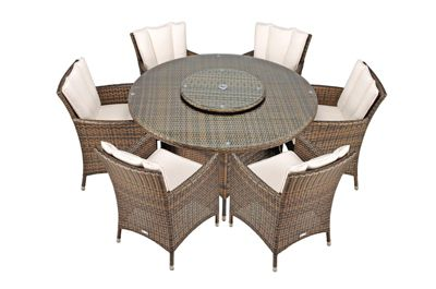 savannah rattan garden furniture 6 seat round glass top table dining set with free parasol with - Garden Furniture 6 Seats