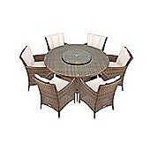 Savannah Rattan Garden Furniture 6 Seat Round Glass Top Table Dining Set with Free Parasol with Base, Dust Cover, Cushions & 1 Yr Warranty