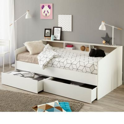 Happy Beds Sleep Wood Storage Drawers Day Bed with Open Coil Spring Mattress - White - EU Single