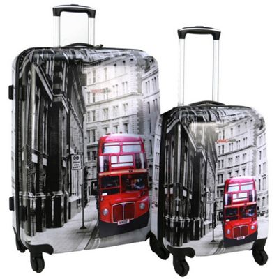 fec8d8c7cb11 Buy Swiss Case 4-Wheel 2Pc Hard Suitcase Set, London Bus from our ...