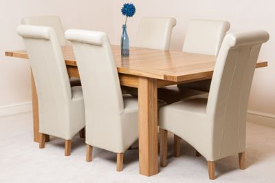 Seattle Solid Oak Extending 150 - 210 cm Dining Table with 6 Ivory Montana Leather Chairs