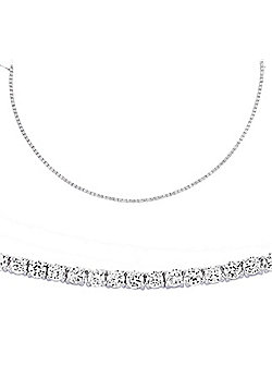 Jewelco London Rhodium Plated Sterling Silver Tennis Necklace