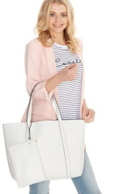 F&F Faux Leather Shopper Bag White One Size