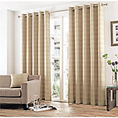 Curtina Braemar Check Natural Eyelet Lined Curtains - 90x72 Inches