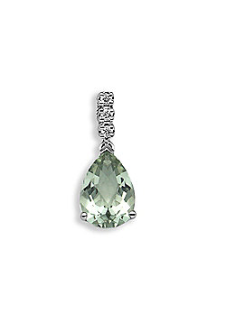 Jewelco London 18 Carat White Gold Diamond-5pt Green Amethyst-1.78ct Pendant
