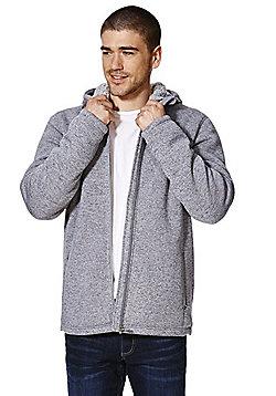 F&F Borg Lined Hooded Zip-Through Fleece - Light grey