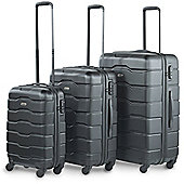 VonHaus ABS Hard Shell Luggage 4 Wheel Spinner Set of 3 Piece - Black