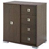 Temple - Chest Of 4 Drawers With Sliding Door Storage Unit - Dark Oak