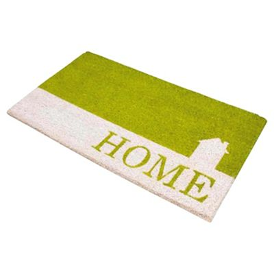 Home Green & White PVC Coir Mat
