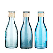 Set Of Three Nautical Blue Glass Bottles