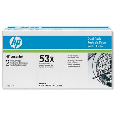 Bundle: HP 53X Black Smart Print Cartridge (Yield 7,000 Pages) Dual Pack for LaserJet M2727mfp, P2014, P2015