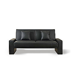 Comfy Living Faux Leather Sofa Bed with Cushions in Black