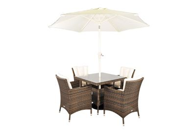 savannah rattan garden furniture 4 seat square glass top table dining set with free parasol with