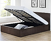 Happy Beds Cosmo Faux Leather Ottoman Storage Bed with Memory Foam Mattress - Brown