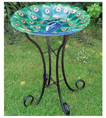 Kingfisher Large Glass Painted Peacock Wild Bird Bath Garden Ornament With Stand