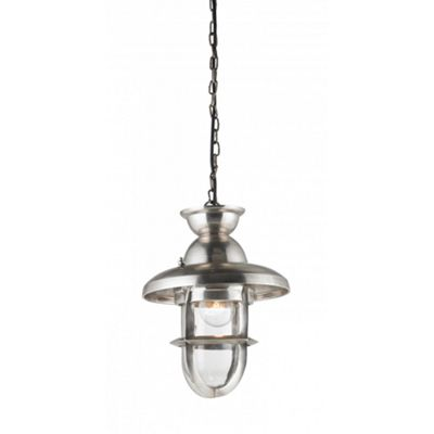 Tarnished Silver Effect Plate & Clear Glass 245mm Pendant 40W