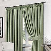 "Dreamscene Pair Basket Weave Pencil Pleat Curtains, Green - 66"" x 72"" (168x183cm)"
