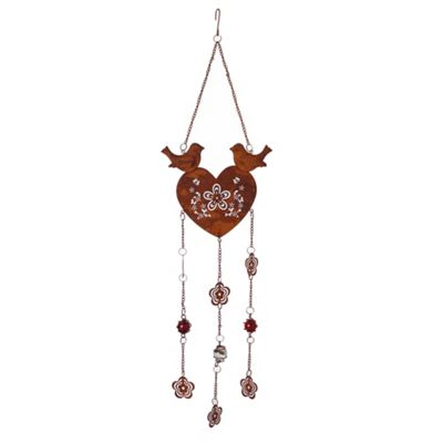 Rusty Look Heart Hanger with Bird & Patterned Flower Design