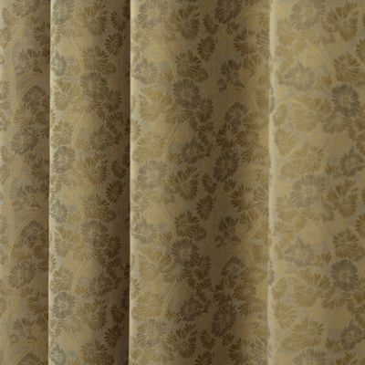 Homescapes Gold Jacquard Curtain Vintage Floral Design Fully Lined - 90