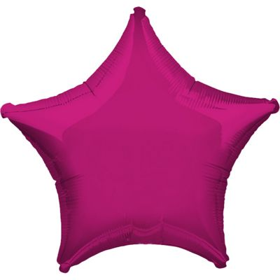 Fuchsia Pink Star Balloon - 19 inch Foil