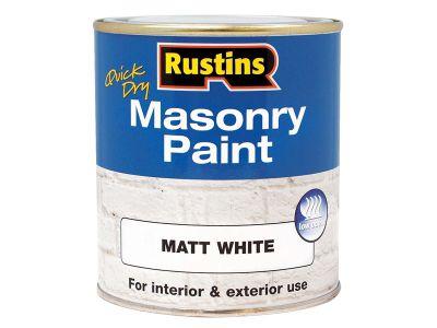 Rustins Quick Dry Masonry Paint White 500ml