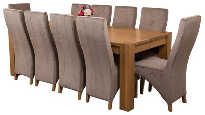 Kuba Chunky 220cm Kitchen Solid Oak Dining Set Table and 10 Grey Fabric Chairs