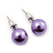 Purple Lustrous Faux Pearl Stud Earrings (Silver Tone Metal) - 9mm Diameter