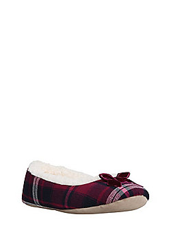 F&F Checked Borg Lined Ballerina Slippers - Berry