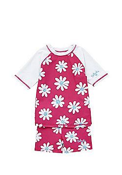 Babeskin Floral UPF 50+ Protection Rash Vest and Shorts Set - Pink