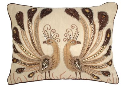 Taupe Cushion with Beaded Chocolate Peacock Design