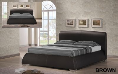 Modena Desginer Brown Faux Leather 4ft6 Double Bed Frame