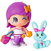 Pinypon Blister Figure and Pet - Purple Hair and Blue Bunny