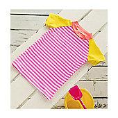 Big Fisch Girls UV Rash Top | Pink Stripe - Pink & White