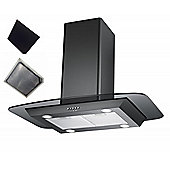 Cookology Ceiling Mounted Extractor Fan | 90cm Flat Glass Island Chimney Cooker Hood in Black & Recirculating Carbon Filter