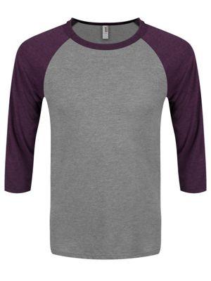 Heather Grey & Heather Aubergine 3/4 Sleeve Men's Baseball T-Shirt
