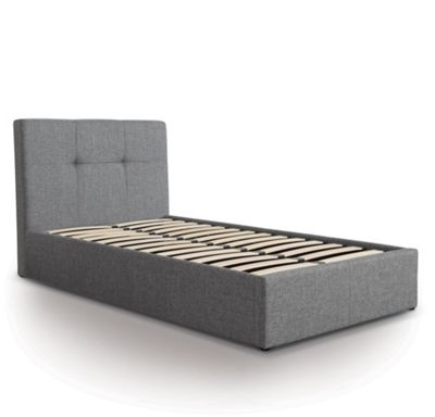 Buttoned Designer Fabric Ottoman Gas Lift Storage Bed - Single - Grey