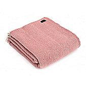 Tweedmill Textiles 100% Pure Wool Blanket Herringbone Design in Dusky Pink