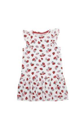 F&F Strawberry Print Ruffle Detail Dress White 6-7 years