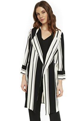 Wallis Striped Duster Jacket White/Black 12