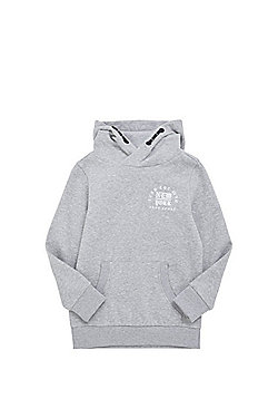 F&F New York Patch Hoodie - Marl grey