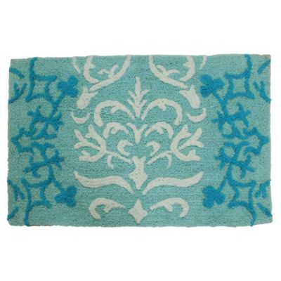 Homescapes Blue Damask Cotton Bath Mat