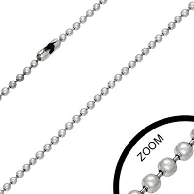 Urban Male Stainless Steel Military Ball Link Chain 2.4mm Wide & 20in Long