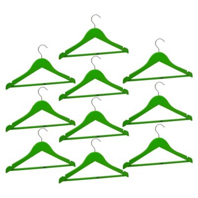 Harbour Housewares Pack of 10 Green Childrens Wooden Clothes / Coat Hangers