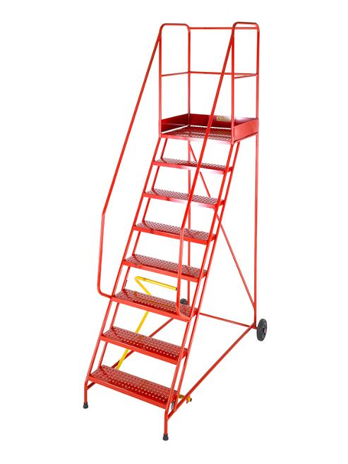 Heavy Duty 15 Tread Steel Warehouse Mobile Step (Punched Tread)