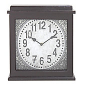Wooden Rectangular Mantle Clock - Dark Brown