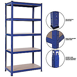 Heavy Duty 5 Tier Racking Shelves,Boltless Industrial Racking,150x70x30cm Industrial Strength & MDF, 900Kg Capacity Garage/Shed Storage Unit - Blue